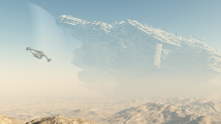 ship wreck: Science fiction illustration of a derelict giant spaceship crashed on a desert planet, 3d digitally rendered illustration