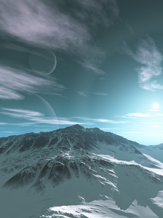 erosion: Science fiction illustration of snow covered mountains on an alien planet with two moons in the sky, 3d digitally rendered illustration Stock Photo