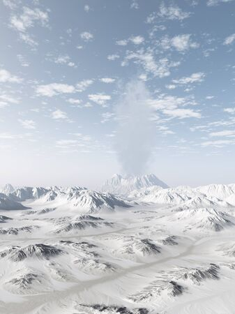 winter range: Smoking volcano in a snowy mountain range on a clear winter day, 3d digitally rendered illustration