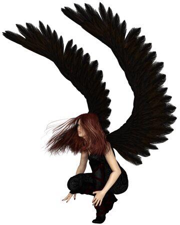 crouching: Fantasy illustration of a female urban guardian angel, 3d digitally rendered illustration Stock Photo