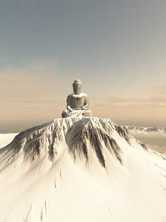 Illustration of a giant statue of Buddha on top of a lonely snow covered mountain peak, 3d digitally rendered illustration Stockfoto