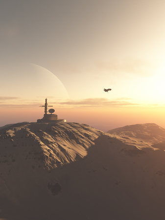 deserts: Science fiction illustration of a mountain-top research station outpost on an alien desert planet at sunset, 3d digitally rendered illustration Stock Photo