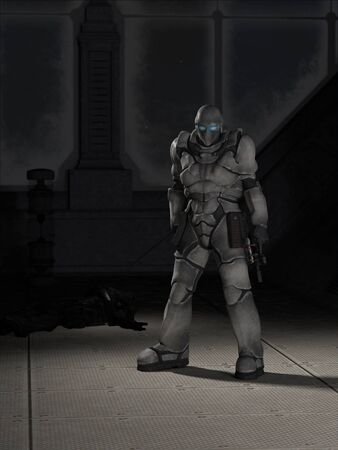 victim: Science fiction illustration of a future space marine assassin standing by the body of his victim, 3d digitally rendered illustration Stock Photo