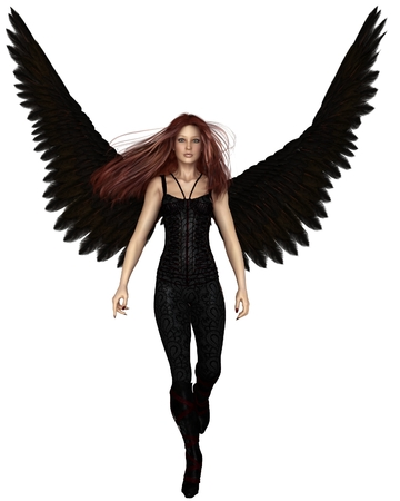 Fantasy illustration of a female urban guardian angel walking forwards, 3d digitally rendered illustration