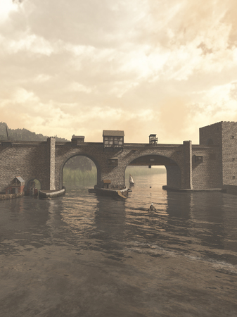 gatehouse: Illustration of an old European Medieval bridge with gatehouse and half-timbered buildings, spanning a quiet river, 3d digitally rendered illustration