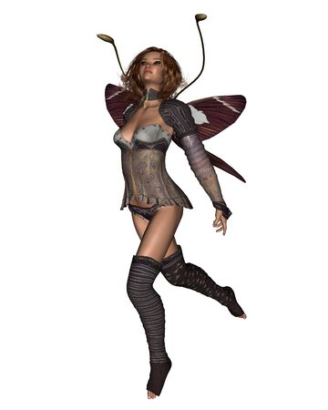 fey: Fantasy illustration of a dancing fairy with butterfly wings, 3d digitally rendered illustration