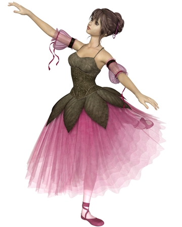 tutu: Illustration of a pretty dark-haired young ballerina wearing a long romantic style pink flower tutu standing in arabesque pose, 3d digitally rendered illustration