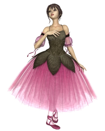 dance pose: Illustration of a pretty dark-haired young ballerina wearing a long romantic style pink flower tutu, 3d digitally rendered illustration
