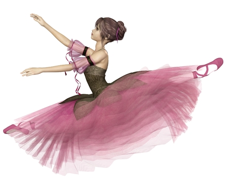 tutu: Illustration of a pretty dark-haired young ballerina wearing a long romantic style pink flower tutu leaping through the air in a grand jete, 3d digitally rendered illustration