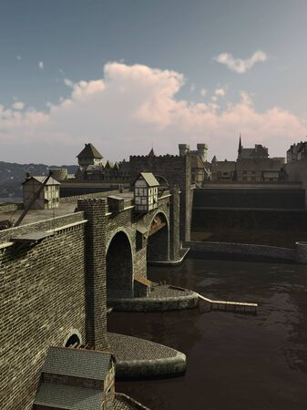 span: Illustration of an old European Medieval bridge with gatehouse and half-timbered buildings, leading across a quiet river to the old town, 3d digitally rendered illustration