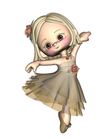 Cute little toon ballerina, 3d digitally rendered illustration Stock fotó