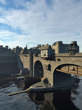 old town: Illustration of an old European Medieval bridge with gatehouse and half-timbered buildings, leading across a quiet river to the old town and castle, 3d digitally rendered illustration