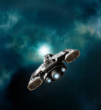 깊은 공간에서 웜홀을 입력하려고 우주선의 공상 과학 소설 그림 디지털 그림 3D 렌더링 스톡 콘텐츠