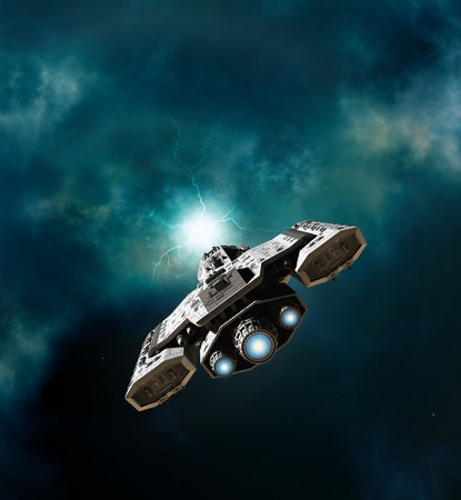 starship: Science fiction illustration of a spaceship about to enter a wormhole in deep space, 3d digitally rendered illustration