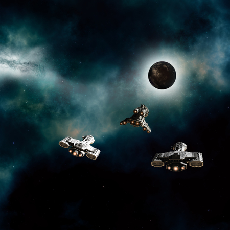 Science fiction illustration of three spaceships approaching a dark alien planet in deep space, 3d digitally rendered illustration Stock Photo