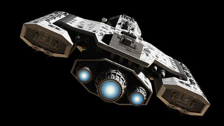 Science fiction illustratie van een ruimteschip geïsoleerd op een zwarte achtergrond met blauwe motor gloed, terug bekijken, 3d digitaal teruggegeven illustratie