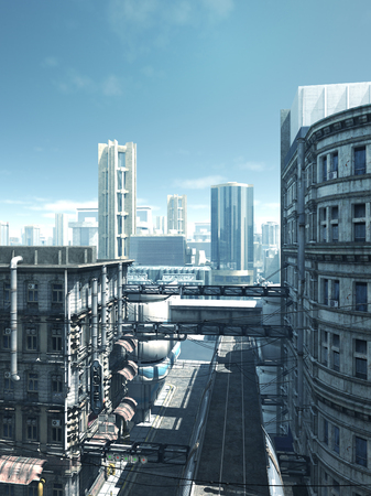 deserted: Science fiction illustration of the empty deserted streets of a future city, 3d digitally rendered illustration