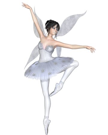 ballerina fairy: Illustration of a dark haired snowflake fairy ballerina wearing a classical ballet tutu and fairy wings, 3d digitally rendered illustration