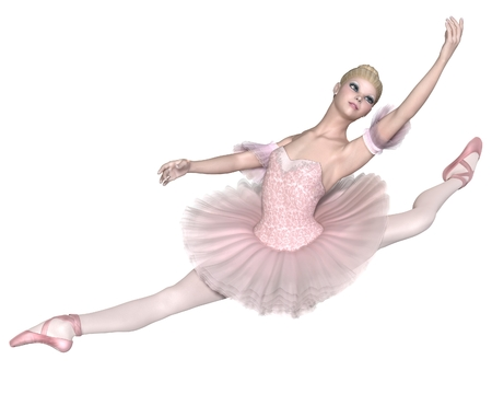 Illustration of a pretty blonde ballerina in a classical pink tutu performing an grand jet, 3d digitally rendered illustration Stock Photo