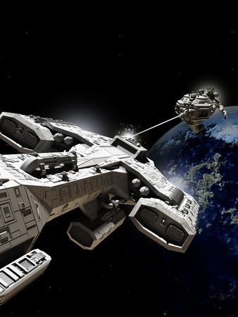 Science fiction illustration of two spaceships battling above an alien planet, 3d digitally rendered illustration Foto de archivo