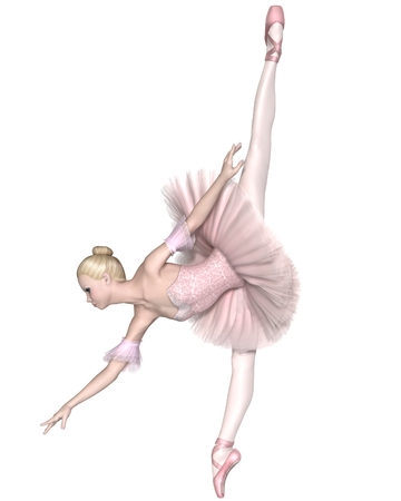 classical dance: Illustration of a pretty blonde ballerina in a classical pink tutu performing an arabesque pench, 3d digitally rendered illustration