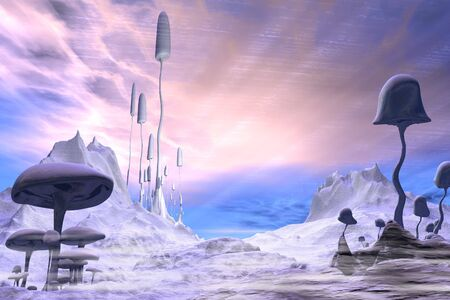 pink sky: Science fiction illustration of a frozen alien landscape with dramatic blue and pink sky and giant ice covered mushrooms or toadstools, 3d digitally rendered illustration Stock Photo