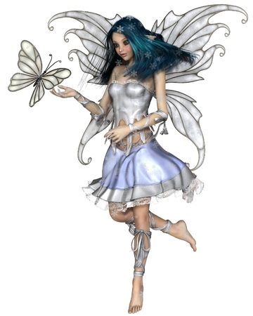 longhaired: Fantasy illustration of a pretty blue haired fairy with winter snowflakes and white butterfly, 3d digitally rendered illustration