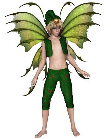 Fantasy illustration of a Christmas fairy or elf boy, 3d digitally rendered illustration Stock Photo