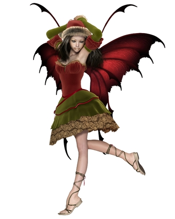 beauty smile: Fantasy illustration of a Christmas fairy or elf girl with red wings, 3d digitally rendered illustration