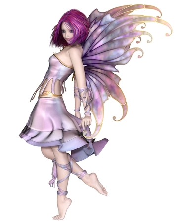 Fantasy illustration of a cute and pretty fairy with purple hair, dress and wings, 3d digitally rendered illustration