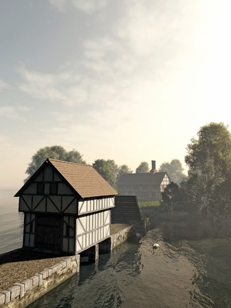 Illustration of a half-timbered traditional English late medieval, Elizabethan or Tudor manor house on an island with gatehouse and drawbridge, 3d digitally rendered illustration