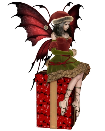 faery: Fantasy illustration of a Christmas fairy or elf girl with red wings sitting on a christmas present wrapped in festive paper with gold bow, 3d digitally rendered illustration Stock Photo