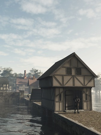 guard house: Illustration of an armoured knight guarding a half-timbered traditional English late medieval, Elizabethan or Tudor manor house on an island with gatehouse and drawbridge, 3d digitally rendered illustration
