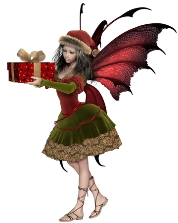 gift wrapped: Fantasy illustration of a Christmas fairy or elf girl with red wings holding a gift wrapped in festive paper with gold bow, 3d digitally rendered illustration