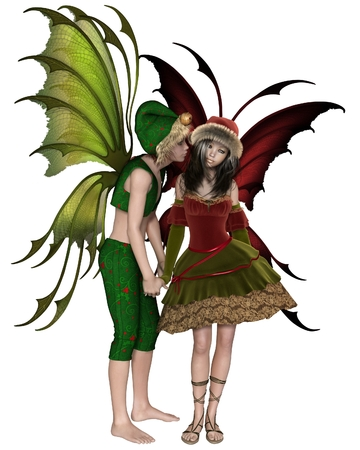 faerie: Fantasy illustration of a Christmas fairy or elf boy stealing a kiss from a shy fairy girl, 3d digitally rendered illustration