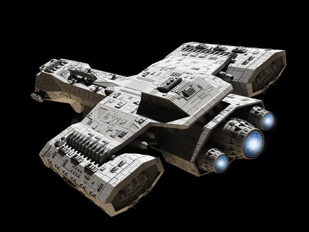 Science fiction illustratie van een ruimteschip geïsoleerd op een zwarte achtergrond met blauwe motor gloed, top schuin oog, 3d digitaal teruggegeven illustratie