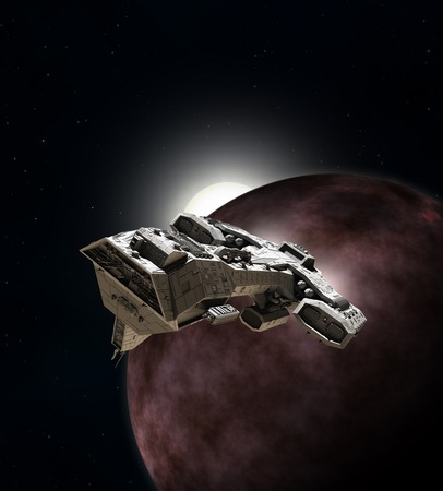 interstellar: Science fiction illustration of an interstellar spaceship breaking orbit from around a red planet, 3d digitally rendered illustration Stock Photo
