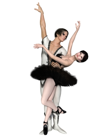 duet: Illustration of a beautiful ballerina and her partner in a Black Swan pas de deux from the ballet Swan Lake, 3d digitally rendered illustration Stock Photo