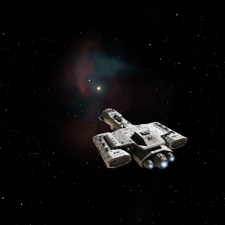 starship: Science fiction illustration of a spaceship heading towards a nebula in deep space, 3d digitally rendered illustration Stock Photo