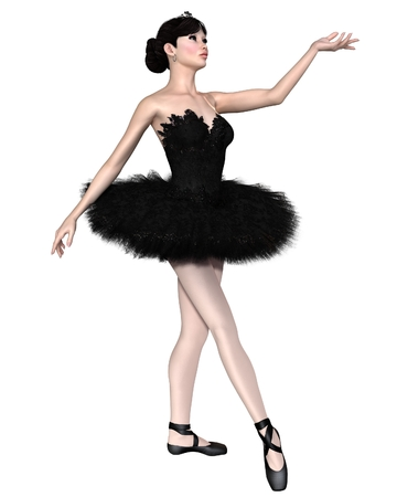 black swan: Illustration of a beautiful ballerina as Odile from the ballet Swan Lake in Black Swan costume, 3d digitally rendered illustration Stock Photo