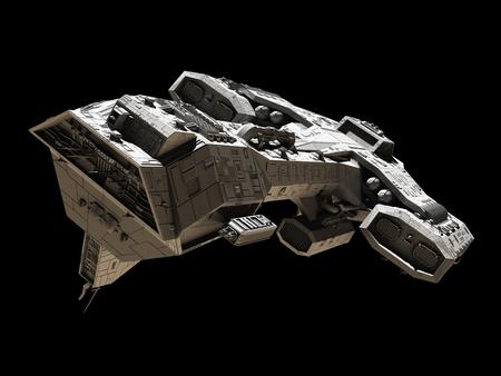 Science fiction illustratie van een ruimteschip geïsoleerd op een zwarte achtergrond, vooraanzicht zijaanzicht, 3d digitaal teruggegeven illustratie