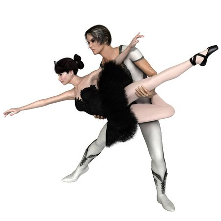 male ballet dancer: Illustration of a beautiful ballerina and her partner in a Black Swan pas de deux from the ballet Swan Lake, 3d digitally rendered illustration Stock Photo