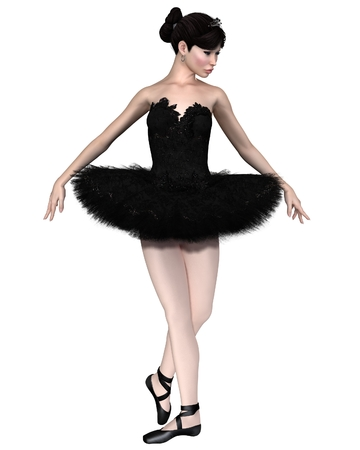 black swan: Illustration of a beautiful ballerina in Black Swan costume as Odile from the ballet Swan Lake, 3d digitally rendered illustration Stock Photo