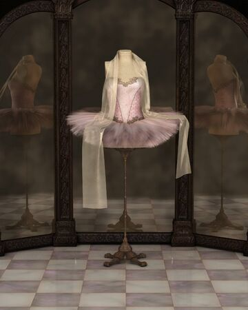 Illustration of a pink classical ballet tutu with draped chiffon scarf on a stand reflected in a cloudy three panel mirror, 3d digitally rendered illustration