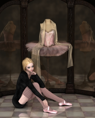 tutu: Illustration of a student ballerina sitting day dreaming by a pink classical ballet tutu with draped chiffon scarf on a stand reflected in a cloudy three panel mirror, 3d digitally rendered illustration