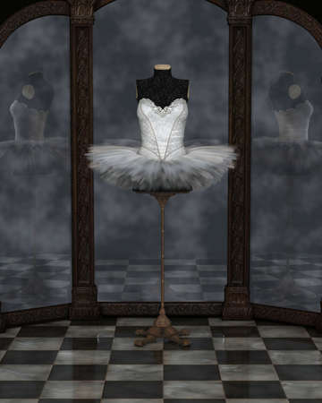 tutu: Illustration of a white classical ballet tutu on a stand reflected in a cloudy three panel mirror, 3d digitally rendered illustration Stock Photo