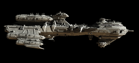 starship: Science fiction illustration of a futuristic interstellar escort frigate spaceship - side view isolated on black background, 3d digitally rendered illustration