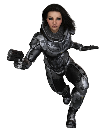 space suit: Science fiction illustration of a brunette female future soldier in protective armoured space suit, running forward, 3d digitally rendered illustration Stock Photo
