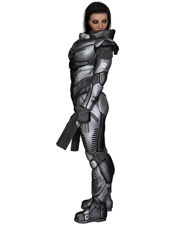 soldiers: Science fiction illustration of a brunette female future soldier in protective armoured space suit, standing holding pistols, 3d digitally rendered illustration