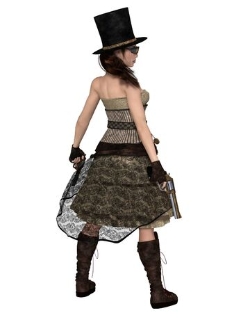stovepipe: Fantasy illustration of a Steampunk Woman with stovepipe hat and two revolvers, back view, 3d digitally rendered illustration Stock Photo